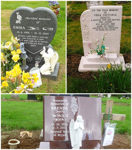 New Memorial Headstones, by White & Joyce Ltd, Monumental Masons, Northampton